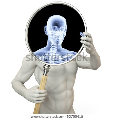 man shines his legs x-rays through a magnifying glass. - stock photo