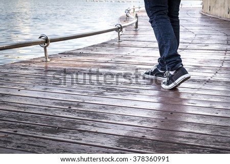 Man shoes canvas outdoor - stock photo