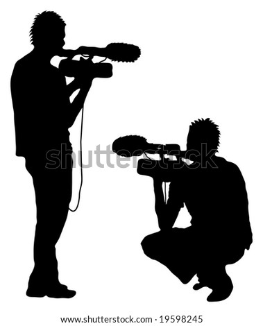 Man shooting Film (silhouette) - stock photo