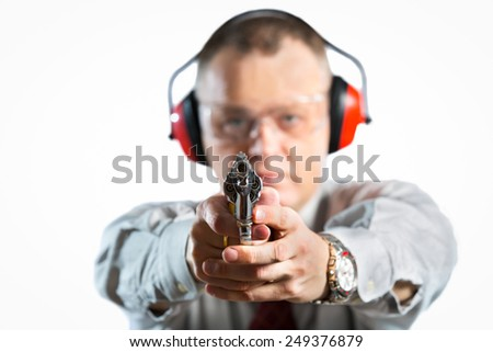 Man shooting, isolated on white, studio shoot - stock photo