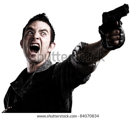 man shooting on a white background