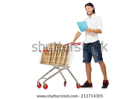 Man shopping with supermarket basket cart isolated on white