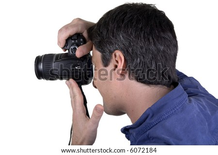 man shot from profile taking picture with digital camera