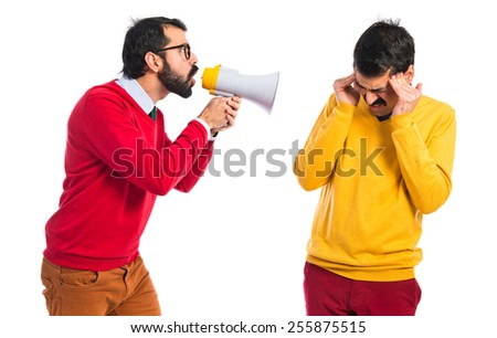 Man shouting his brother - stock photo