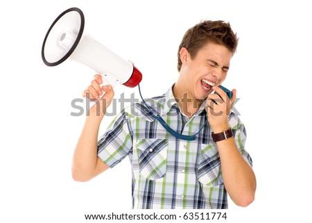 Man Shouting Through Megaphone - stock photo