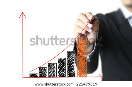 Man show drawing a graph business - stock photo