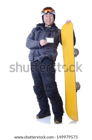 Man showing a ski pass copy space while holding his snowboard isolated on white - stock photo