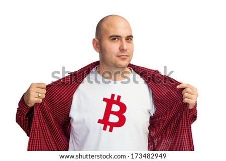 Man showing Bitcoin currency symbol printed on his shirt. Bitcoin is virtual electronic money.