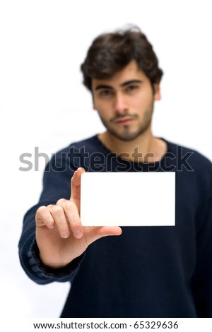 Man showing card isolated on white. - stock photo