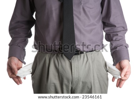 Man showing empty pockets.
