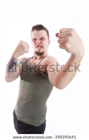 man showing fists to fight