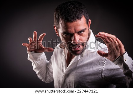 man showing hands - stock photo
