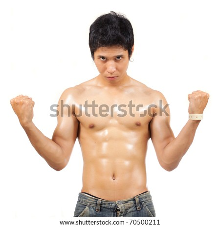 man showing his body muscle - stock photo