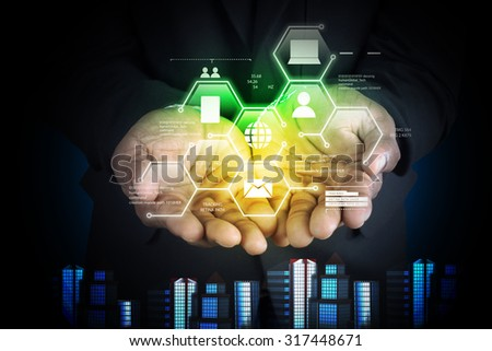 Man showing networking with virtual display in color background
