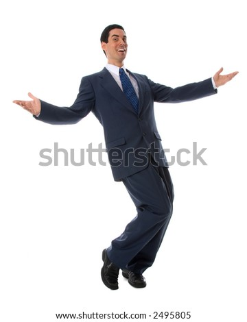 man showing off on white isolated background
