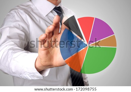 man showing on a hart and looks like the shares have developed - stock photo