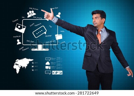 Man showing social network concept - stock photo