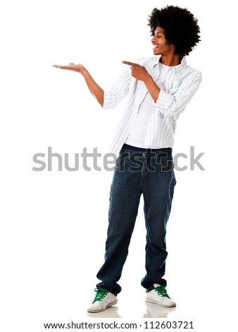 Man showing something in his hand - isolated over a white background - stock photo