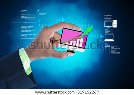 Man showing successive graph in color background