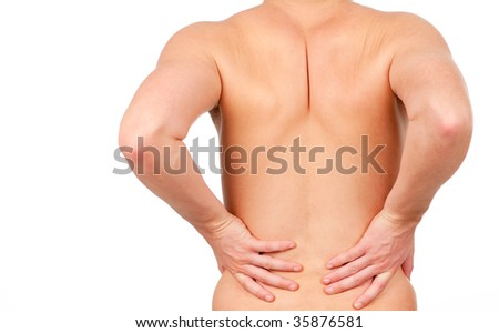 man showing that he has pain in his back isolated on white - stock photo