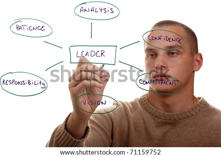 Man showing the qualities of a good leader. - stock photo