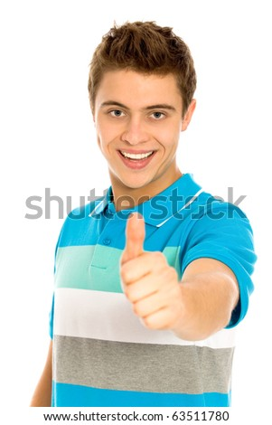 Man showing thumbs up - stock photo