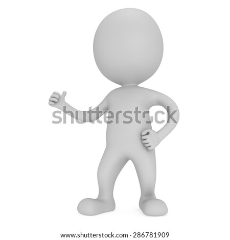 Man showing thumbs up over white background. 3D render. - stock photo