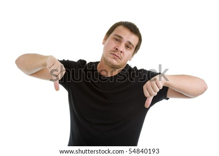 man showing two thumbs down, isolated on white background - stock photo