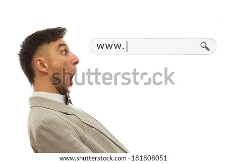 Man showing wow face and looking on web bar with space for copy.Isolated on white - stock photo