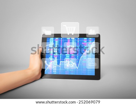 Man shows tablet modern technology as concept