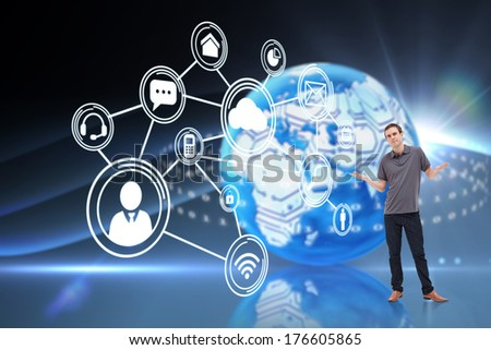 Man shrugging his shoulders against digital earth background - stock photo