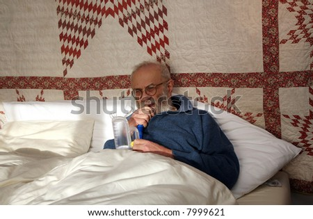 man sick in the bed - stock photo