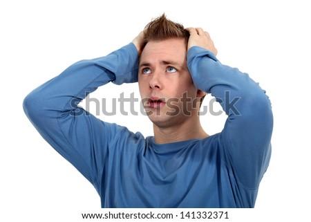 man sick of living - stock photo