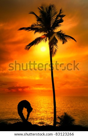 Man silhouette doing tiriang mukhottanasana backward bending pose with palm tree nearby outdoors at ocean and sunset background. Vagator beach, Goa, India - stock photo