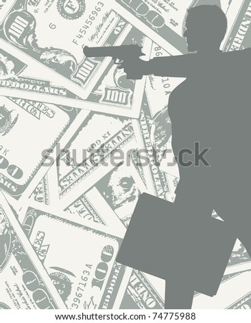 man silhouette with gun and money (also available vector version) - stock photo