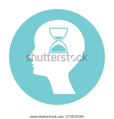 Man silhouette with hourglass. - stock photo