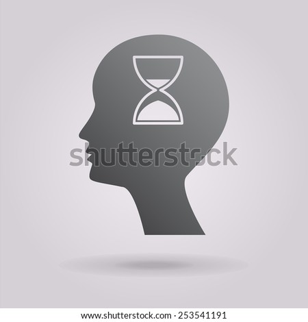 Man silhouette with hourglass. Icon. - stock photo
