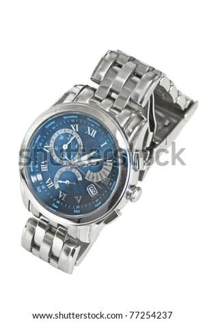 Man silver watch isolated on white background