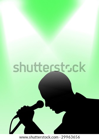 Man singing in the light on a colorful background