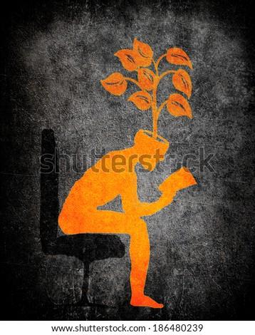 man sitting and reading a book orange on black digital illustration - stock photo