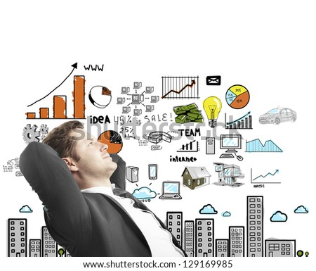 man sitting and thinking drawing concept city - stock photo