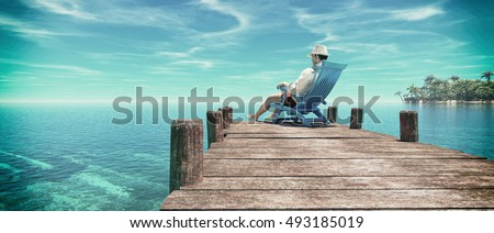 Man sitting in a chair on a pontoon and admiring the ocean, enjoy the tropical island . This is a 3d render illustration