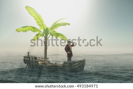 Man sitting in old wooden boat with a palm tree and looking to the horizon. This is a 3d render illustration
