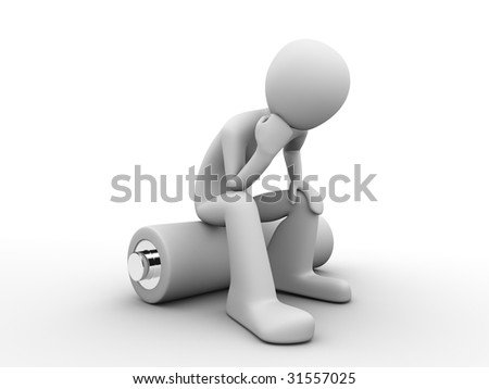 man sitting on a battery and thinking about saving energy resources - stock photo