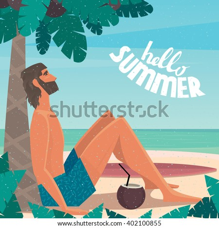 Man sitting on a beach under a palm tree by the sea leaned back on a palm tree - Vacation or holidays concept. Raster version of illustration - stock photo