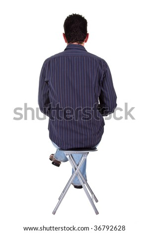man sitting on a bench in back, isolated on a white background