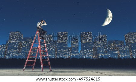 Man sitting on a ladder and look in the distance , near the city by night. This is a 3d render illustration
