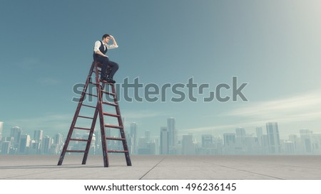 Man sitting on a ladder and look in the distance , near the city. This is a 3d render illustration