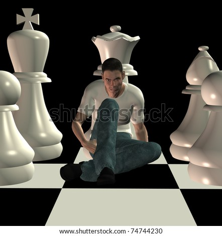 Man sitting on chessboard among team of white chess pawns. 3d illustration. - stock photo