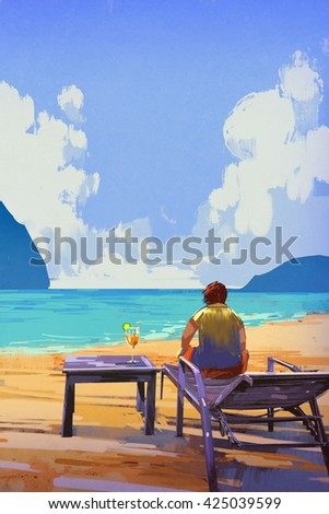 man sitting on deckchair at the beach,illustration,summer